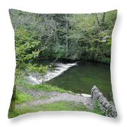 Weir Below Lover's Leap - Dovedale Throw Pillow