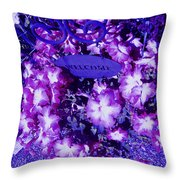 Welcome Flowers In Purple Throw Pillow