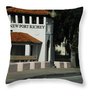 Welcome To New Port Richey Florida  Throw Pillow