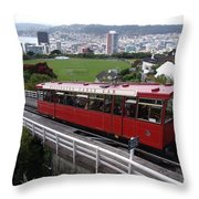 Tram Car Viewpoint - Wellington, New Zealand Throw Pillow