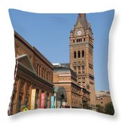 Wells Street Theater District And City Hall Throw Pillow
