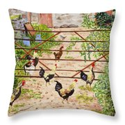 Welsh Farm Cockerels On Patrol Throw Pillow