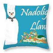 Welsh Snowman Chef Throw Pillow