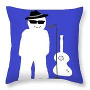 Welsh Snowman Musician Throw Pillow