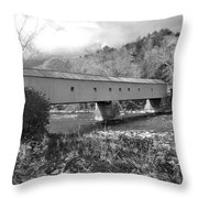West Cornwall Connecticut Covered Bridge Black And White Throw Pillow