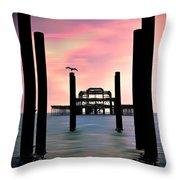 West Pier Silhouette Throw Pillow