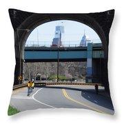 West River Drive Philadelphia Throw Pillow