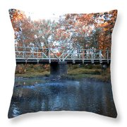 West Valley Green Road Bridge Along The Wissahickon Creek Throw Pillow by Bill Cannon