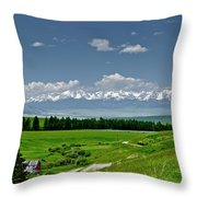Westerly View Of The Bridger Mountains Throw Pillow