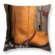 Western Boots And Spurs Throw Pillow