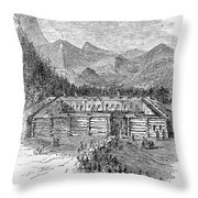Western Fort, 19th Century Throw Pillow