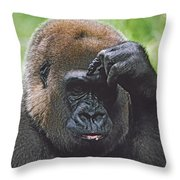 Western Gorilla Portrait With Finger On Throw Pillow