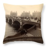 Westminster Bridge - London - C 1887 Throw Pillow