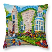 Westmount Birthday Party-montreal Urban Scene-little Girls Playing Throw Pillow