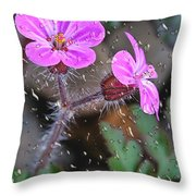 Wet Geranium  Throw Pillow
