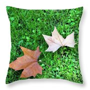 Wet Leaves On Grass Throw Pillow