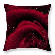 Wet Rose Throw Pillow
