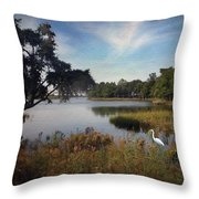 Wetlands - Oil Painting Effect Throw Pillow