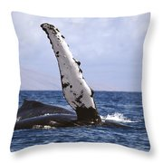 Whale Fin Above Water Throw Pillow