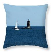 Whaleback Lighthouse Kittery Maine Throw Pillow