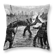 Whaling At Shore, 1875 Throw Pillow