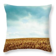 Wheatfield And Cloudy Sky Throw Pillow