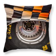 Wheel And Chequered Flag Throw Pillow