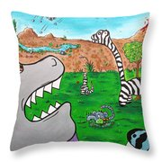 When Zebrasaurs Walked The Earth Throw Pillow