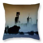 While The City Sleeps Throw Pillow by Bill Cannon