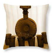 Whiskey Decanter In Sepia Throw Pillow