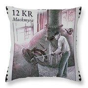 Whisky Postage Stamp Print Throw Pillow
