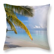 Whispering Palm On The Tropical Beach Throw Pillow