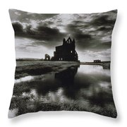 Whitby Abbey Throw Pillow by Simon Marsden