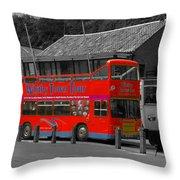 Whitby Tour Bus Throw Pillow