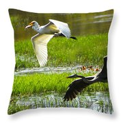 White And Grey Herons In Flight Throw Pillow