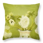 White Anemonies And Ranunculus On Green Throw Pillow by Susan Gary