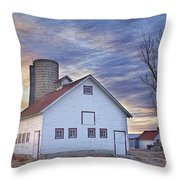 White Barn Sunrise Throw Pillow