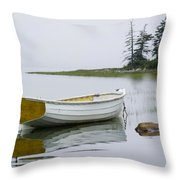 White Boat On A Misty Morning Throw Pillow