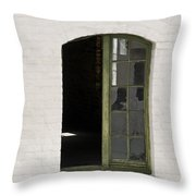 White Brick And Broken Window Throw Pillow