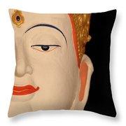 White Buddha Face Throw Pillow