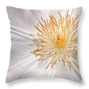 White Clematis Throw Pillow