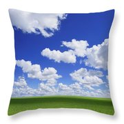 White Clouds In The Sky And Green Meadow Throw Pillow