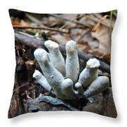 White Club Mushroom - Clavulina  Throw Pillow