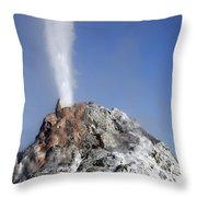 White Dome Geyser Erupting, Upper Throw Pillow