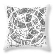 White Doodle Circles Throw Pillow