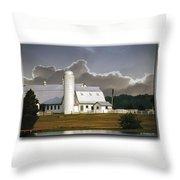 White Farm Throw Pillow