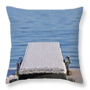 White Frost Diving Board Throw Pillow