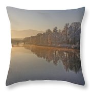 White Frost Landscape Throw Pillow