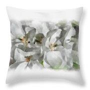 White Geraniums - Watercolor Throw Pillow
