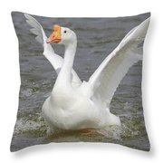 White Goose Throw Pillow